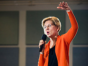 04 NOVEMBER 2019 - GRINNELL, IOWA: US Senator ELIZABETH WARREN (D-MA) speaks to a crowd of about 500 students and local residents at Grinnell College. She brought her campaign to be the Democratic nominee for the US Presidency to the college town of Grinnell, Iowa, Monday. Iowa holds the first selection event of the 2020 presidential election cycle. The Iowa caucuses are Feb. 3, 2020.           PHOTO BY JACK KURTZ