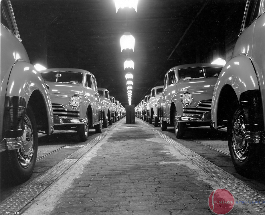 1946 Studebaker Skyway Champions at the end of the assembly line.