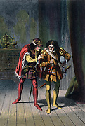 Richard  III (1452-1485) King of England from 1483, gives Sir James Tyrrell the order to kill the sons of Edward IV (Edward V and the Duke of York), the Princes in the Tower, with the inducement '…say it is done,/And I will love thee, and prefer thee too.'  Illustration by Robert Dudley for Shakespeare Richard III Act IV. Sc.II published c.1858. Chromolithograph