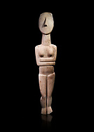 Large Female Cycladic Canonical type, Spedos variety female figurine statuette. Early Cycladic Period II from Syros phase , 1.4m high (2800-2300 BC). Museum of Cycladic Art Athens,  Against black<br /> <br /> This impressive Cycladic statue is distinguished by its clear outlines and perfect proportions as well as plasticity of form. A sense of movement is introduced into the staue by its left hip being raised and a slight inclination of the head to the right. This movement gives the statue an air of mysetery and makes it a precursor of the later Archaic statue forms. This sense of movement also sets this Cycladic statue apart from other of the period. It was probably a cult statue and stood at the shrine of a cult goddess.