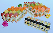 Assortment of Sushi including: Sushi Maki, futo maki, and Insideout