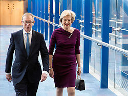 Prime Minister Theresa May and husband Philip John May arrive to the Conservative party conference at the International Convention Centre, ICC, Birmingham. Wednesday October 5, 2016. Photo credit should read: Isabel Infantes / EMPICS Entertainment.