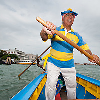 VENICE, ITALY - SEPTEMBER 05: The president of  Voga Veneta Lido rowing club  sails in front of San Marc Square ahead of today Historic Regata on September 5, 2010 in Venice, Italy. The Historic Regata is the most exciting rowing race on the Gran Canal for the locals and one of the most spectacular ***Agreed Fee's Apply To All Image Use***.Marco Secchi /Xianpix. tel +44 (0) 207 1939846. e-mail ms@msecchi.com .www.marcosecchi.com
