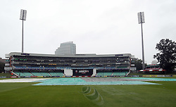 Playing conditions covering the pitch during the T20 Challenge cricket match between the Hollywoodbets Dolphins and VKB Knights  at the Kingsmead stadium in Durban, KwaZulu Natal, South Africa on the 11 Dec 2016<br /> <br /> Photo by:   Steve Haag / Real Time Images