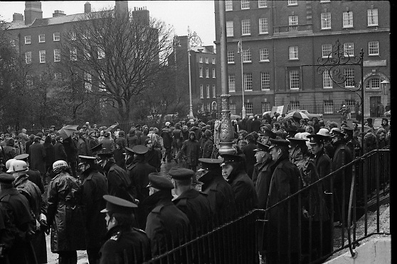 National Day of Mourning, Bloody Sunday, Pro Cathedral<br /> 1972.<br /> 02.02.1972.<br /> 2nd February 1972.<br /> After the tragedy,that was Bloody Sunday,when British paratroops opened fire on a civilian protest march in Derry, a national day of mourning was held in memory of those who died or were injured. The  Northern Ireland Civil Rights Association had organised the protest march to highlight the inequities of a system which discriminated against the Catholic community of the city.