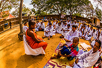 A Novice Buddhist Monk gives a lesson, Sri Maha Bodhi, the sacred bodhi tree. Anuradhapura, North Central, Sri Lanka.