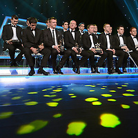 26 October 2012; The 2012 All-Star hurling team at the 2012 GAA GPA All-Star awards, sponsored by Opel. GAA GPA All-Star Awards 2012 Sponsored by Opel, National Convention Centre, Dublin. Picture credit: Brendan Moran / SPORTSFILE *** NO REPRODUCTION FEE ***