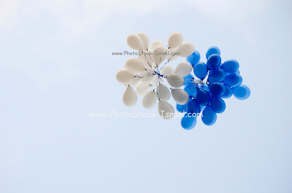 Blue and white Helium Filled balloons floating in a blue sky