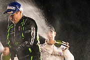 ESM racing champagne celebration after winning the GT class at Petit Le Mans. Oct 18-20, 2012. © Jamey Price
