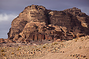 Tomb facades carved into a rock mountain in Petra, Jordan.