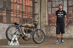 Rhett Rotton with Freddie Bollwage's 1918 J Harley-Davidson Sons Of Speed board track racer built by Billy Lane and which Rhett raced in Daytona. At the Congregation Show. Charlotte, NC. USA. Saturday April 14, 2018. Photography ©2018 Michael Lichter.