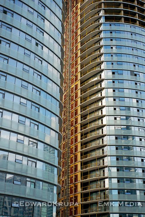 Condominium buildings under contruction in downtown Toronto.