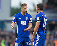 Birmingham City's Michael Morrison in discussion with teammate Lukas Jutkiewicz<br /> <br /> Photographer James Williamson/CameraSport<br /> <br /> The EFL Sky Bet Championship - Birmingham City v Aston Villa - Sunday October 30th 2016 - St Andrews - Birmingham<br /> <br /> World Copyright © 2016 CameraSport. All rights reserved. 43 Linden Ave. Countesthorpe. Leicester. England. LE8 5PG - Tel: +44 (0) 116 277 4147 - admin@camerasport.com - www.camerasport.com
