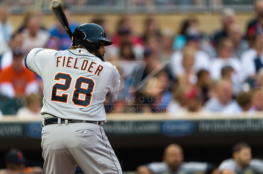 Prince Fielder (28) of the Detroit Tigers bats against the Minnesota Twins on August 14, 2012 at Target Field in Minneapolis, Minnesota.  The Tigers defeated the Twins 8 to 4.  Photo: Ben Krause