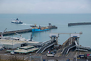 A DFDS ferry departs from the Eastern Dock of the Port of Dover is where the cross channel port is situated with ferries departing here to go to Calais in France. Dover, Kent, United Kingdom.  Dover is the nearest port to France with just 34 kilometres 21 miles between them. It is one of the busiest ports in the world. As well as freight container ships it is also the main port for P&O and DFDS Seaways ferries.