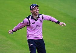 Eoin Morgan of Middlesex celebrates the catch of  Roelof Van De Merwe of Somerset.  - Mandatory by-line: Alex Davidson/JMP - 15/07/2016 - CRICKET - Cooper Associates County Ground - Taunton, United Kingdom - Somerset v Middlesex - NatWest T20 Blast