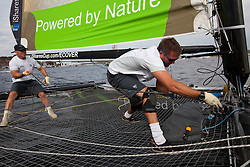 """© Sander van der Borch. Kiel - Germany, 27th of August 2009. iShares cup. Practice day...The first day of racing as part of the media day. the teams practice on the inland canal close to the city centre. Onboard the extreme 40 """"Ecover"""". ."""
