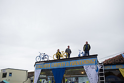 Spectators wait for the start of the Tour de Yorkshire - a 122.5 km road race, between Tadcaster and Harrogate on April 29, 2017, in Yorkshire, United Kingdom.