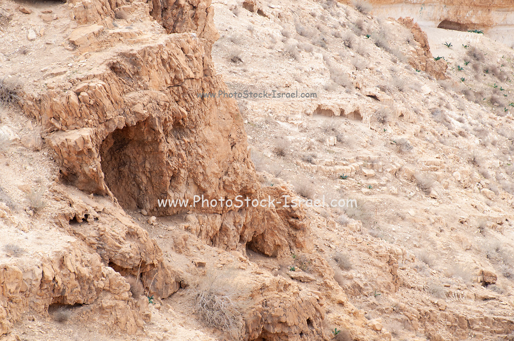 Entrance to a Natural Cave Photographed in Nahal  Tzeelim [Tze'eelim Stream], Negev Desert, Israel  in December
