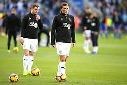 Burnley's Chris Wood warms up before the match