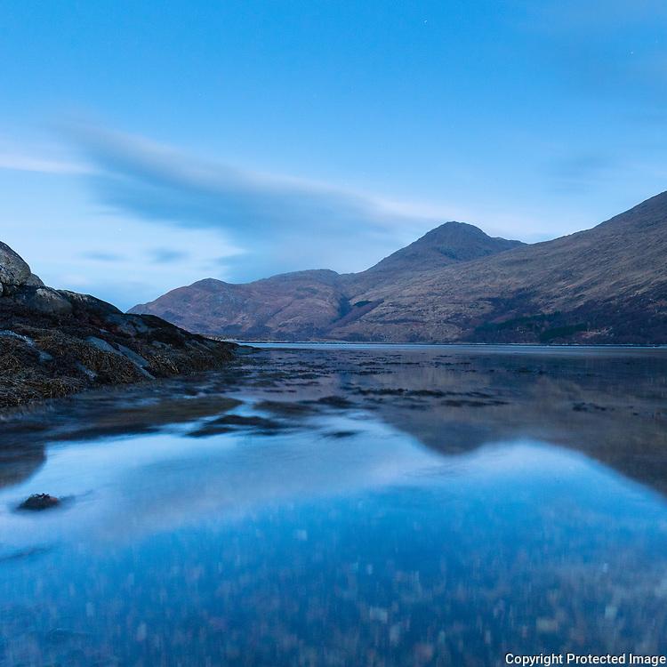 Loch Ailort at dusk, Roshven, Lochaber, Highland, Scotland.