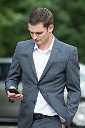 © Licensed to London News Pictures. 03/08/2015. Durham, UK. Picture shows Sunderland & England footballer Adam Johnson at Durham Crown Court. Johnson is accused of three counts of sexual activity with a girl under 16 and one count of grooming. Photo credit : Andrew McCaren/LNP