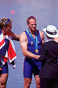 © 2000 All Rights Reserved - Peter Spurrier Sports Photo. .Tel 44 (0) 1784-440 771  .Mobile 44 (0) 973 819 551.email pictures@rowingpics.com.Sydney Olympics 2000 - Penrith Lakes, NSW ..Steven Redgrave, is presented with his fifth Olympics gold medal by HRH Princess Anne......... 2000 Olympic Regatta Sydney International Regatta Centre (SIRC) 2000 Olympic Rowing Regatta00085138.tif