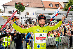 Overall winner Diego Ulissi (ITA) of UAE Team Emirates celebrates in green jersey at trophy ceremony after the 5th Stage of 26th Tour of Slovenia 2019 cycling race between Trebnje and Novo mesto (167,5 km), on June 23, 2019 in Slovenia. Photo by Vid Ponikvar / Sportida