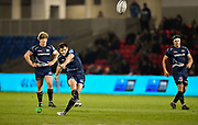 Sale Sharks fly-half AJ MacGinty kicks a penalty during a Gallagher Premiership match won by Sale Sharks 27-17 at the AJ Bell Stadium, Eccles, Greater Manchester, United Kingdom, Friday, April 5, 2019. (Steve Flynn/Image of Sport)