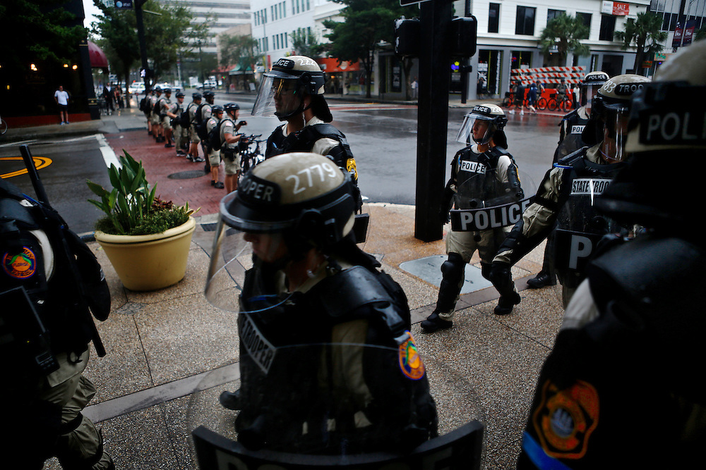 Law enforcement officers march through the streets during the 2012 Republican National Convention on August 27, 2012 in Tampa, Fla.