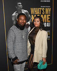 May 8, 2019 - Los Angeles, California, USA - 08, May 2019 - Pasadena, California. Sugar Shane Mosley and Bella Gonzalez attends 'What's My Name | Muhammad Ali' HBO Documentary Premiere at Regal Cinemas LA LIVE 14 in Los Angeles, California. (Credit Image: © Billy Bennight/ZUMA Wire)