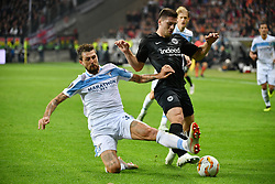 FRANKFURT, Oct. 5, 2018  Francesco Acerbi (Front L) of Lazio vies with Luka Jovic of Eintracht Frankfurt during the Europa League Group H match in Frankfurt am Main, Germany, Oct. 4, 2018. Eintracht Frankfurt won 4-1. (Credit Image: © Ulrich Hufnagel/Xinhua via ZUMA Wire)
