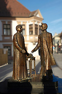 Jedlik Ånyos and Czuczor Gergely statue ( Scientists and inventors) - ( Gy?r )  Gyor Hungary .<br /> <br /> Visit our HUNGARY HISTORIC PLACES PHOTO COLLECTIONS for more photos to download or buy as wall art prints https://funkystock.photoshelter.com/gallery-collection/Pictures-Images-of-Hungary-Photos-of-Hungarian-Historic-Landmark-Sites/C0000Te8AnPgxjRg