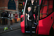 Jeremy Corbyn arrives on the Labour campaign bus.Labour and Jeremy Corbyn supporters gather outside the Union Chapel, June 6th 2017 in Islington, London. It is Jeremy Corbyns 90th and last stop on the general election campaign and thousands of supporters have turned out to greet  him. The venue is full and people gather outside hoping to get a glimps of him.