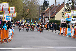 Giorgia Bronzini lets her sprint out early and holds off the attack from Marta Tagliaferro - Grand Prix de Dottignies 2016. A 117km road race starting and finishing in Dottignies, Belgium on April 4th 2016.