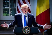 President Donald Trump answers questions about former FBI Director James Comey's testimony before the Senate Select Committee on Intelligence during a joint press conference with Klaus Iohannis, Romania's president, in the Rose Garden at the White House in Washington, District of Columbia, U.S., on Friday, June 9, 2017. Trump and Iohannis will discussed the 20-year-old strategic partnerships that the two countries have.