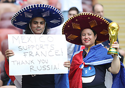 MOSCOW, July 15, 2018  Fans are seen prior to the 2018 FIFA World Cup final match between France and Croatia in Moscow, Russia, July 15, 2018. (Credit Image: © Fei Maohua/Xinhua via ZUMA Wire)