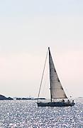 Sailing boat at sea outside Bandol Cote d'Azur Var France