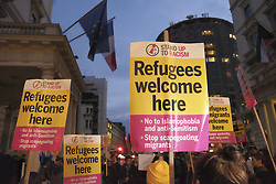 October 24, 2016 - London, England, United Kingdom - A group of pro-migrant demonstrators demonstrators hold a protest outside the French embassy in London on 24 October 2016 to protest agaist the shutting down of the migrant camp in Calais, France. (Credit Image: © Jay Shaw Baker/NurPhoto via ZUMA Press)