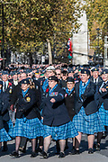 Veterans, incl male and female members of teh RAF, march past the Cenotaph and down Whitehall - Remembrance Sunday and Armistice Day commemorations fall on the same day, remembering the fallen of all conflicts but particularly the centenary of the end of World War One.