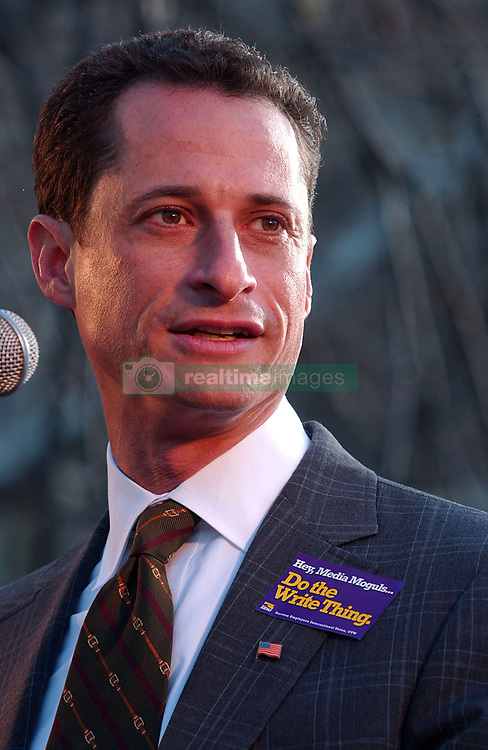 May 19, 2017 - File Photo - Former Rep. ANTHONY WEINER pleaded guilty Friday to transferring obscene material to a minor and will register as a sex offender.'I accept full responsibility for my conduct. I have a sickness, but I do not have an excuse,' Weiner said through pauses and bouts of tears in an emotional statement. 'I entered intensive treatment.' As part of the plea agreement, he also will have to forfeit his iPhone, surrender his passport, continue mental health treatment and is barred from having any contact with the girl. Pictured: November 27 2007 - New York - Anthony Weiner wearing 'Do the Right Thing' pin at a labor rally in New York to support striking writers. (Credit Image: © Sharkpixs/ZUMAPRESS.com)