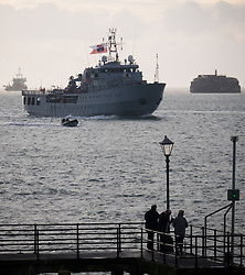 "© Licensed to London News Pictures. 09/01/2017. Portsmouth, UK.  The Polish Navy's youngest ship, ORP Kontradmiral Xawery Czernicki, ""Czernicki"", sails into Portsmouth Harbour under Police escort this morning, 9th January 2017. The multi-role support ship is visiting Portsmouth before deploying on a 6-month mission to join Standing NATO Maritime Group 2 (SNMG2) in the Mediterranean Sea. Photo credit: Rob Arnold/LNP"