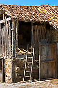 Old hay barn in mountain village of Somaniezo in Picos de Europa, Cantabria, Northern Spain