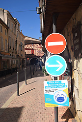 Obligatory to wear a mask in town centres during Covid pandemic, Villeneuve-sur-Lot, Southern France 2021