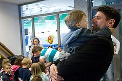 Ex-player of Slovenian Ice Hockey National team  Robert Ciglenecki organized visit of children of kindergarten Mojca from Dravlje, Ljubljana during the IIHF World Championship Division 1 Group B tournament, on April 21, 2010, in Hala Tivoli, Ljubljana, Slovenia.  (Photo by Vid Ponikvar / Sportida)