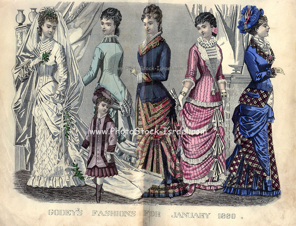 Colour drawing of Godey's women's Fashion for January 1880 from Godey's Lady's Book and Magazine, 1880 Philadelphia, Louis A. Godey, Sarah Josepha Hale,