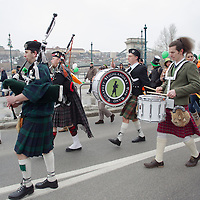 Bagpipers participate in a Saint Patrick's day celebration march in Budapest, Hungary on March 17, 2013. ATTILA VOLGYI