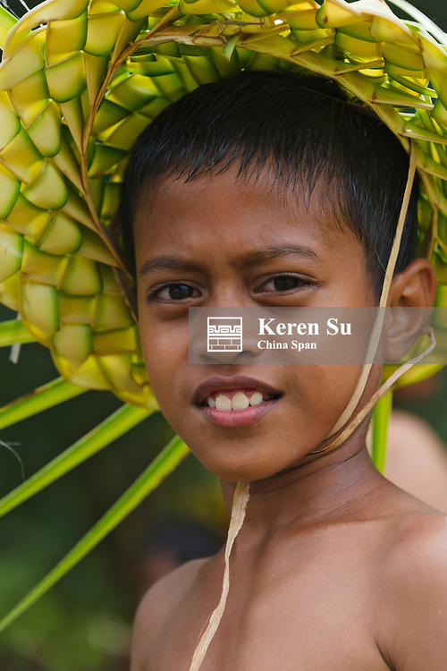 Little Yapese boy in traditional clothing at Yap Day Festival, Yap Island, Federated States of Micronesia