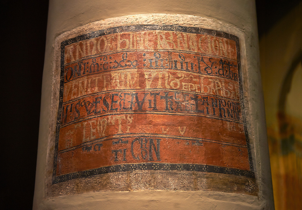 Romanesque frescoes from the Church of Sant Clement de Taull, Vall de Boi, Alta Ribagorca, Spain. Painted around 1123, The inorgaration plaque for the church. National Art Museum of Catalonia, Barcelona. MNAC 15806, .<br /> <br /> Visit our SPAIN HISTORIC PLACES PHOTO COLLECTIONS for more photos to download or buy as wall art prints https://funkystock.photoshelter.com/gallery-collection/Pictures-Images-of-Spain-Spanish-Historical-Archaeology-Sites-Museum-Antiquities/C0000EUVhLC3Nbgw <br /> .<br /> Visit our MEDIEVAL PHOTO COLLECTIONS for more   photos  to download or buy as prints https://funkystock.photoshelter.com/gallery-collection/Medieval-Middle-Ages-Historic-Places-Arcaeological-Sites-Pictures-Images-of/C0000B5ZA54_WD0s