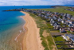 Aerial view of villages of Earlsferry in  East Neuk of Fife, Scotland, UK